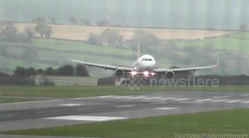 Planes land sideways at Bristol Airport during Storm Callum