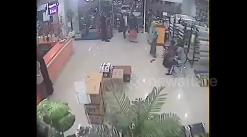 Recently emerged CCTV footage shows moment 7.5-magnitude earthquake hits Indonesia island