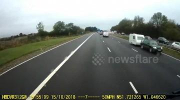 Caravan travelling wrong way down M40 causes major crash