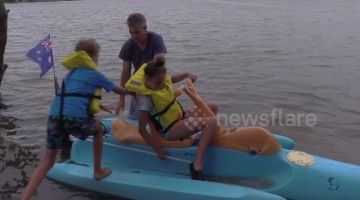 Ingenious girl builds electric boat out of discarded pedal raft
