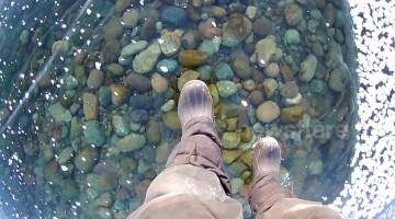 Russian man films mesmerising walk across world's deepest frozen lake