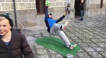 Street performing goalkeeper wows audience by defying gravity