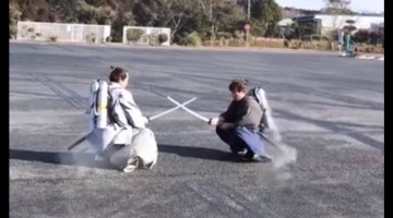 Samurai warriors engage in mid-air fight using jet packs