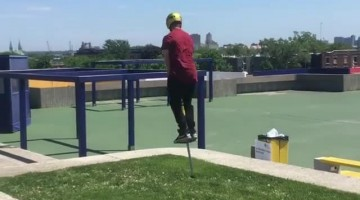 Talented pogo artist performs incredible flip-over