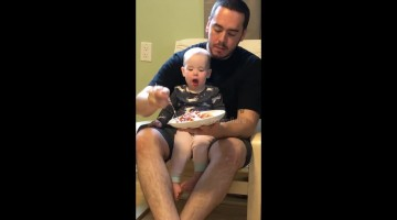 Baby hilariously asks for some of her dad's lasagne