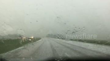 Severe hailstorm causes havoc on Kansas highway