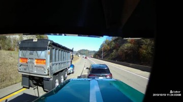 Highway Brake Check Almost Tips Truck