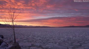 Sunset Time-lapse Over Frozen Utah Lake