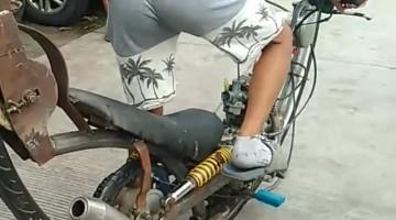 Man Rides Single Wheel Motorcycle