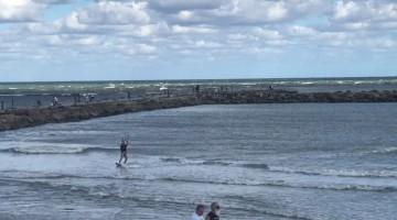Kite Surfer Flies Through the Air