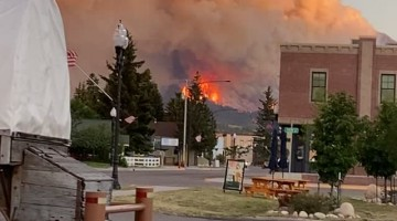 Mountain Engulfed by Fire in Montana
