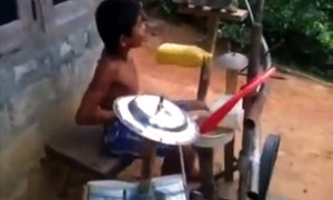 5 Year Boy Creates Magic With A Make Shift Drum Kit. Simply Incredible!