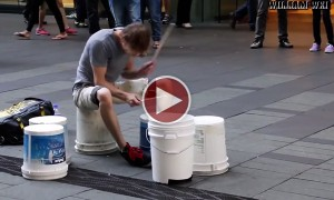 Watch This Epic Performance By A Street Drummer Who Doesn't Even Use Real Drums