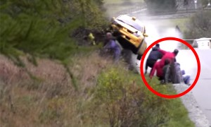 A Speeding Rally Car Narrowly Misses The Luckiest Group Of People On Earth