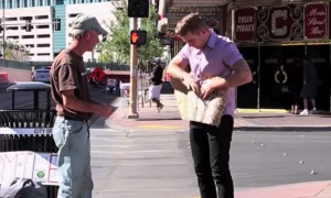 He Ripped Up A Homeless Man's Sign Only To Do Something Amazing With It