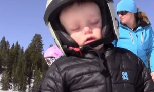 Kid Finds It Too Hard Not To Fall Asleep While Skiing And It's Adorably Cute