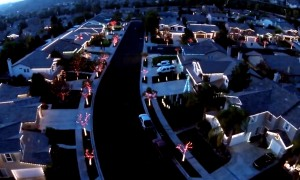 Watch This Incredible Drone Footage Of A Neighborhood's Christmas Light Show