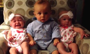 Cute Boy Is Adorably Confused Seeing His Twin Sisters