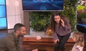 Watch a cute little girl\'s amazing reaction when meets Adam Levine on The Ellen Show