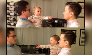 Baby got confused after seeing dad's twin, video goes viral