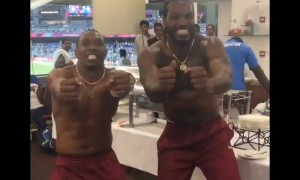 Chris Gayle and Dwayne Bravo\'s top less dance after West Indies beat India in World T20