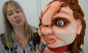 A life-size Chucky doll made of CAKE terrifies punters at a bakery for Hallowe'en