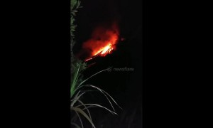 Footage shows incandescent eruption of lava from Indonesia volcano overnight