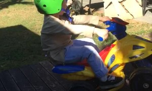 Toddler Wheelie on Toy ATV