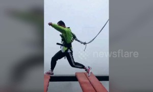 Lucky escape as safety cord slips off harness at high-altitude Chinese theme park