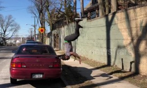 Gymnast shows off his greatest leaps in parkour-style stunts
