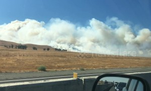 Highway partially shut as brush fire near Bay Area spreads