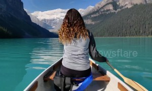 This beautiful Canadian lake will make you think it's a green-screen