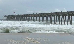 Crashing waves on Pensacola Beach as Michael upgraded to Category 3 storm, nears landfall