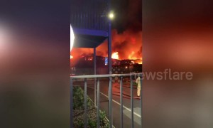Firefighters continue to battle massive blaze at Kent coffee factory