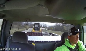 Tractor Tow Fishtailing Close Call