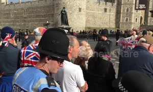Crowds gather outside Windsor for royal wedding of Princess Eugenie