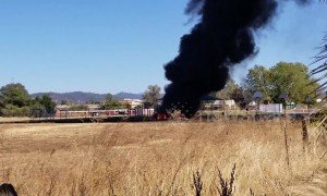 Plumes of black smoke seen as fire breaks out at school playground in Oroville, California