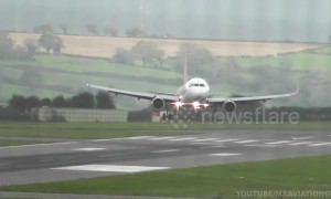 Planes land sideways at Bristol Airport during Storm Callum