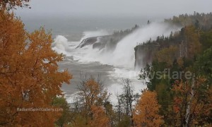 Incredible footage shows monster waves in Lake Superior lashing coast during storm