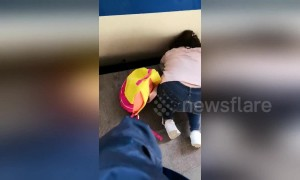 Girl falls between platform and train at Beijing station while mom glued to phone
