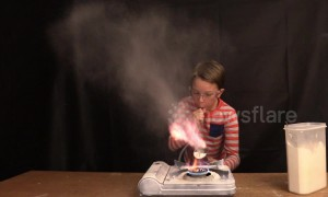 This kid's science class experiment with cooking flour and gas stove turns him into a fire-breathing dragon