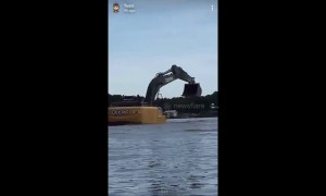 Dizzying footage shows Florida men tubing with an excavator