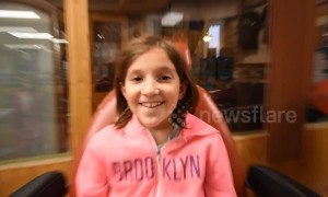 Girl has hilarious reaction to getting her ears pierced