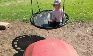 Ingenious father backs up lawn mower to push daughter on swing