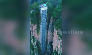 Drone footage shows the world's tallest outdoor elevator