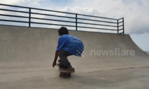One-legged boy performs skateboard tricks after receiving prosthetic leg
