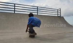 One-legged boy performs skateboard tricks after receiving prosthetic leg