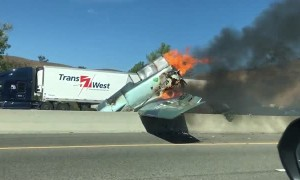 Fiery Plane Crash Shuts Down Freeway