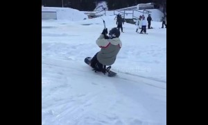 Snowboard lift fail