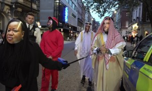 Activists dressed as Saudi royals join protest at London embassy